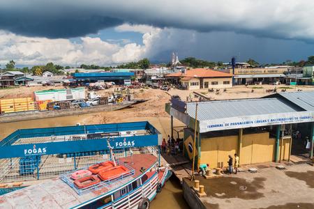 benjamin: BENJAMIN CONSTANT, BRAZIL - JUNE 22, 2015: View of a river port pier of Benjamin Constant town, Brazil.