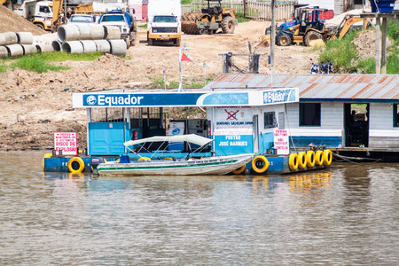 constant: BENJAMIN CONSTANT, BRAZIL - JUNE 22, 2015: View of a floating petrol station in the river port of Benjamin Constant town, Brazil.