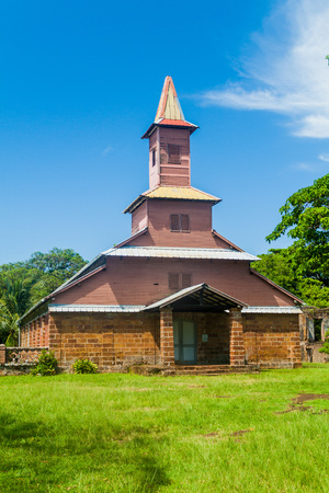 penal: Church of a former penal colony at Ile Royale, one of the islands of Iles du Salut (Islands of Salvation) in French Guiana