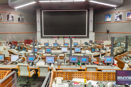 control centre: KOUROU, FRENCH GUIANA - AUGUST 4, 2015:  Jupiter control center at Centre Spatial Guyanais (Guiana Space Centre) in Kourou, French Guiana