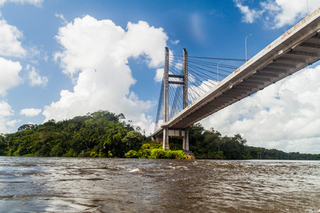 Bridge over river Oyapock (Oiapoque) between French Guiana and Brazil