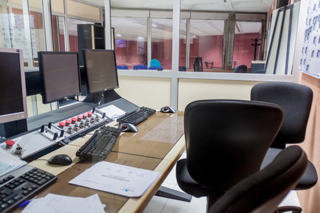 control center: KOUROU, FRENCH GUIANA - AUGUST 4, 2015: Vega rocket control center in Ariane Launch Area 3 building at Centre Spatial Guyanais (Guiana Space Centre) in Kourou, French Guiana