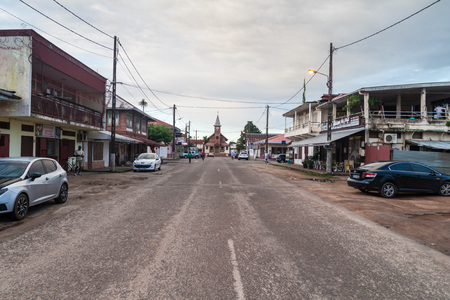 laurent: ST LAURENT DU MARONI, FRENCH GUIANA - AUGUST 4, 2015: Street Felix Eboue in St Laurent du Maroni, French Guiana.