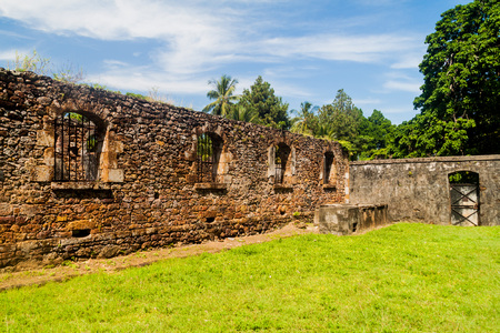 salut: Ruins of former penal colony at Ile Royale, one of the islands of Iles du Salut (Islands of Salvation) in French Guiana