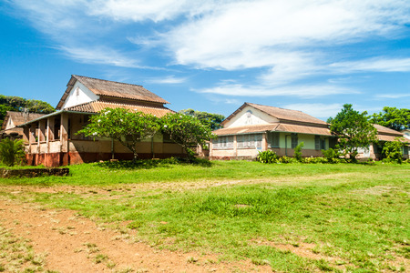 salut: Buildings of former penal colony at Ile Royale, one of the islands of Iles du Salut (Islands of Salvation) in French Guiana Stock Photo