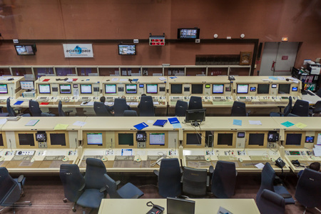 control centre: KOUROU, FRENCH GUIANA - AUGUST 4, 2015: Ariane 5  rocket control center in Ariane Launch Area 3 building at Centre Spatial Guyanais (Guiana Space Centre) in Kourou, French Guiana Editorial