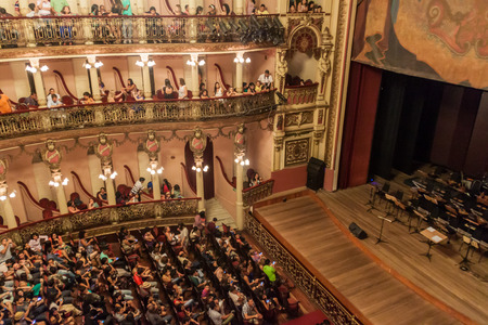 amazonas: MANAUS, BRAZIL - JULY 26, 2015: People visit a concert in Teatro Amazonas, famous theater building in Manaus, Brazil