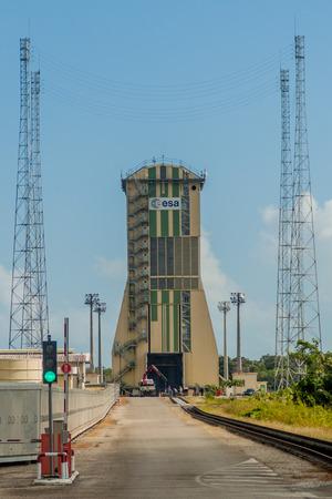 soyuz: KOUROU, FRENCH GUIANA - AUGUST 4, 2015: Launch pad at Soyuz Launch Complex at Centre Spatial Guyanais (Guiana Space Centre) in Kourou, French Guiana