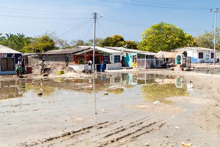 shantytown: BOCACHICA, COLOMBIA - AUGUST 29, 2015: Bocachica village on Tierrabomba island near Cartagena, Colombia