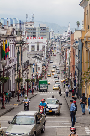 municipality: MANIZALES, COLOMBIA - SEPTEMBER 5, 2015: Street in downtown Manizales, city in colombian coffee zone