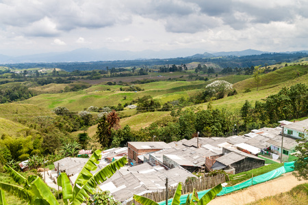 humid south: View over the coffee growing region of Colombia, near Filandia village Stock Photo