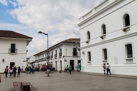 patrimony: POPAYAN, COLOMBIA - SEPTEMBER 10, 2015: People in Parque Caldas in colonial city Popayan, Colombia Editorial