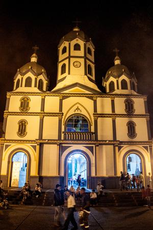 corazon: FILANDIA, COLOMBIA - SEPTEMBER 6, 2015: Sagrado Corazon Church in Filandia village.