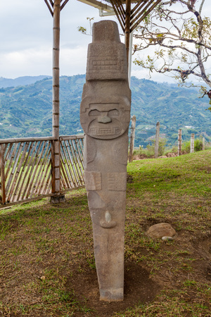san agustin: Ancient statue at Alto de Lavapatas site in archeological park in San Agustin, Colombia Stock Photo