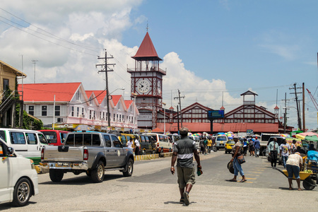GEORGETOWN, GUYANA - AUGUST 10, 2015: Starbroek market in Georgetown, capital of Guyana. Editorial