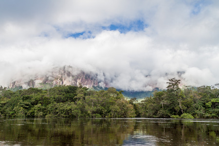 unexplored: River Carrao and tepui (table mountain) Auyan in National Park Canaima, Venezuela