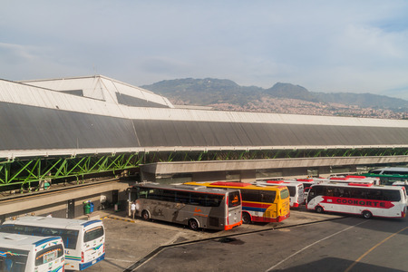 medellin: MEDELLIN, COLOMBIA - SEPTEMBER 1: Exterior of Northern bus terminal of Medellin. Editorial