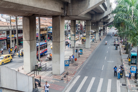 medellin: MEDELLIN, COLOMBIA - SEPTEMBER 1: View of elevated stretch of Medellin metro. Editorial