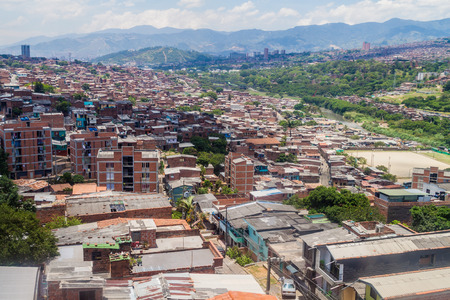 antioquia: Aerial view of a poor neighborhood in Medellin, Colombia