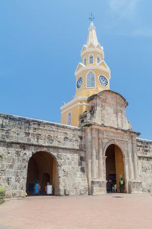 cartagena: CARTAGENA DE INDIAS, COLOMBIA - AUG 28, 2015: People walk near the Clock tower in Cartagena.