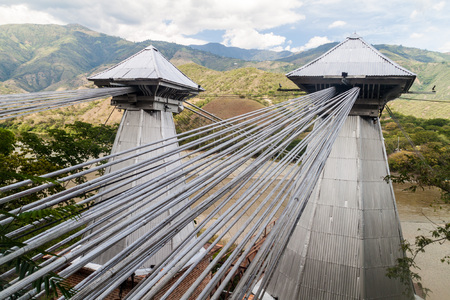 antioquia: Suspension cables of Puente de Occidente (Western Bridge) in Santa Fe de Antioquia, Colombia Stock Photo
