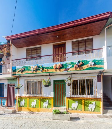antioquia: Colorful decorated house in Guatape village, Colombia