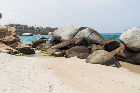 boulders: Huge boulders on a beach in Tayrona National Park, Colombia Stock Photo