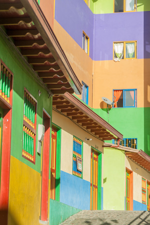 antioquia: Colorful decorated houses in Guatape village, Colombia Stock Photo