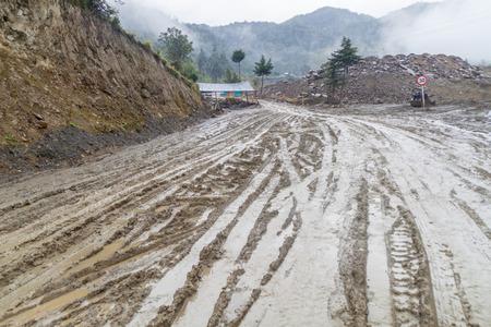bad condition: Road in a bad condition in Cuenca region of Colombia