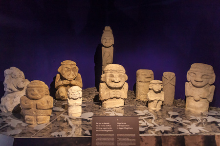 san agustin: SAN AGUSTIN, COLOMBIA - SEPTEMBER 15, 2015: Exposition of ancient statues in archeological museum in San Agustin, Colombia