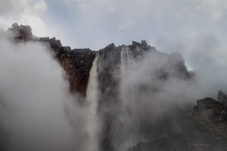 humid south: Angel Falls (Salto Angel), the highest waterfall in the world (978 m), Venezuela. Covered in clouds during the rainy season. Stock Photo