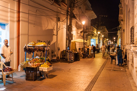marta: SANTA MARTA, COLOMBIA - AUGUST 25, 2015: View of a night street in the center of Santa Marta. Editorial