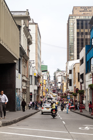 colombian: MANIZALES, COLOMBIA - SEPTEMBER 5, 2015: Street in downtown Manizales, city in colombian coffee zone