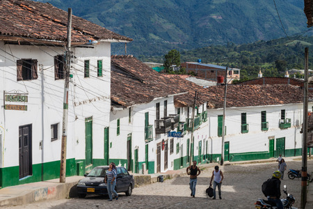 san agustin: SAN AGUSTIN, COLOMBIA - SEPTEMBER 13, 2015: Steep street in San Agustin village, Colombia