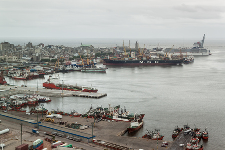 montevideo: MONTEVIDEO, URUGUAY - FEB 19, 2015: Aerial view of a port in Montevideo, Uruguay