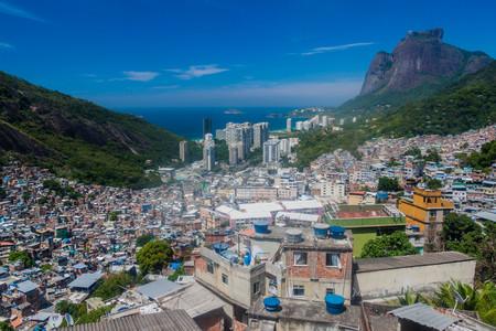 shantytown: Aerial view of favela Rocinha in Rio de Janeiro, Brazil. Stock Photo