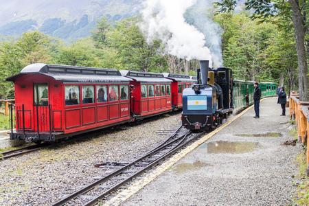 tierra del fuego: TIERRA DEL FUEGO, ARGENTINA - MARCH 7, 2015: Tourist steam train in National Park Tierra del Fuego, Argentina Editorial