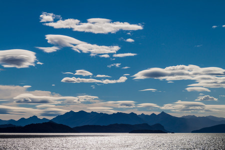 huapi: Clouds over Nahuel Huapi lake near Bariloche, Argentina Stock Photo