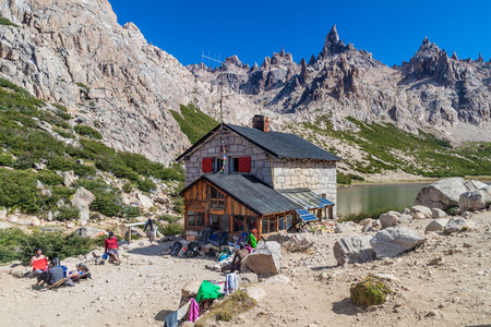 bariloche: REFUGIO FREY, ARGENTINA - MAR 17, 2015: View of a mountain hut Refugio Frey near Bariloche, Argentina Editorial