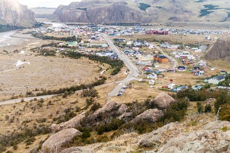 cerro fitzroy: Aerial view of El Chalten village, Argentina Stock Photo