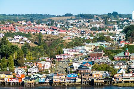castro: Palafitos (stilt houses) in Castro, Chiloe island, Chile Stock Photo