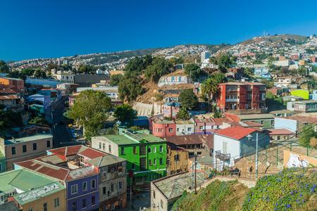 case colorate: Case colorate sulle colline di Valparaiso, Cile