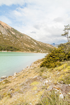 lake argentina: Laguna Esmeralda lake in Tierra del Fuego, Argentina Stock Photo