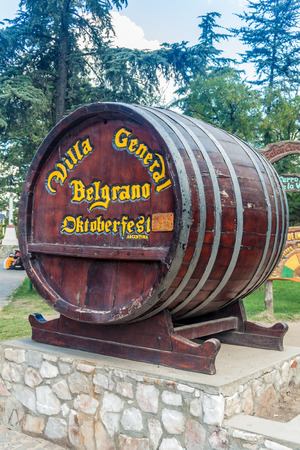 argentina dance: VILLA GENERAL BELGRANO, ARGENTINA - APR 3, 2015: Oktoberfest sign in Villa General Belgrano, Argentina. Village now serves as a Germany styled tourist sttraction.