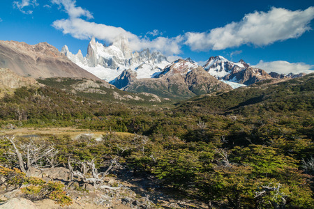glaciares: Fitz Roy mountain in National Park Los Glaciares, Patagonia, Argentina Stock Photo