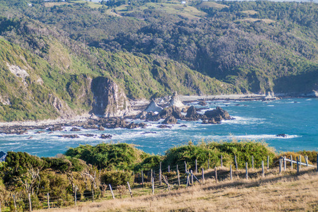 Landscape of a coast of Chiloe island, Chile Stock Photo