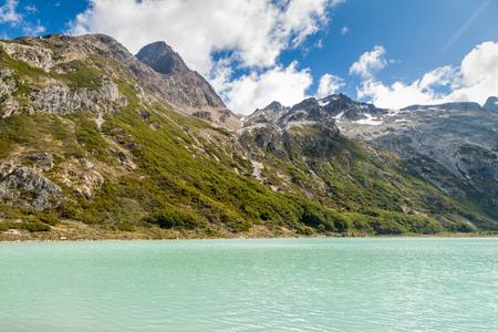 fuego: View of Laguna Esmeralda (Emerald lake) at Tierra del Fuego island, Argentina Stock Photo