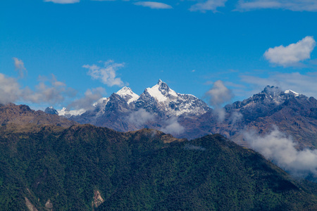 snow capped mountain: Snow capped mountain near Machu Picchu ruins, Peru