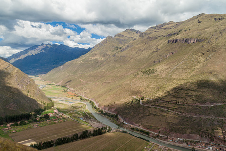 past civilizations: Aerial view of Sacred Valley of Incas near Pisac village, Peru Stock Photo