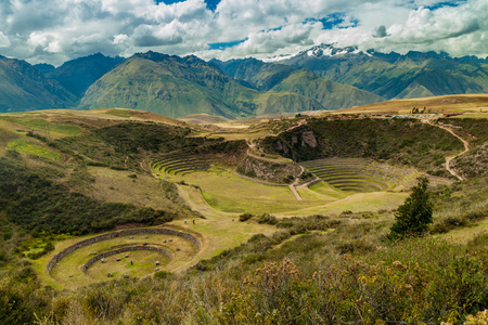Inca agricultural terraces in Moray, Sacred Valley, Peru